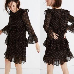 Chiffon tiered ruffle heart print dress